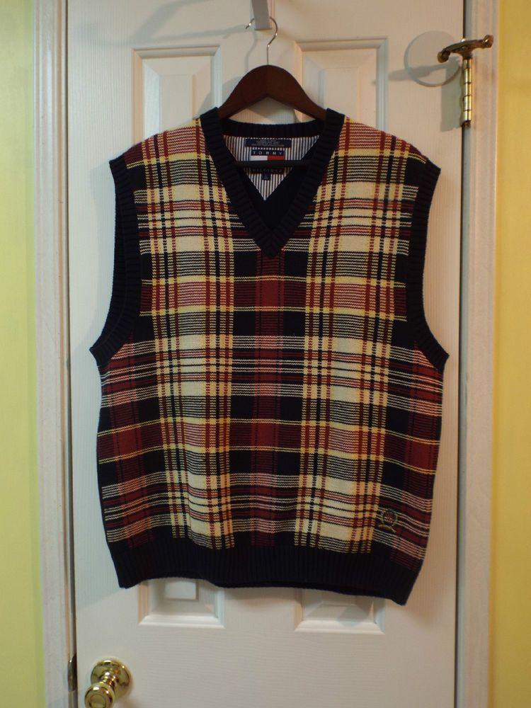 Mens Preppy Plaid Sweater Vest Multi-Colored Size Large Mens Fashion  #TommyHilfiger