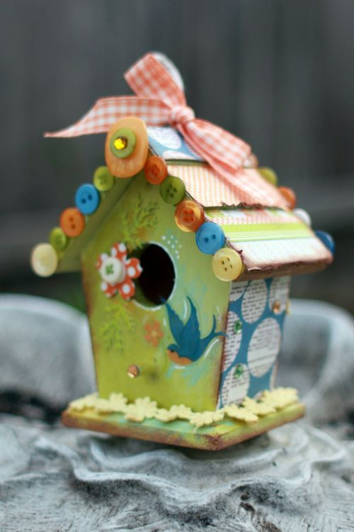 So Cute, I Saw These Little Bird Houses At The Dollar Store...I Bought Some!