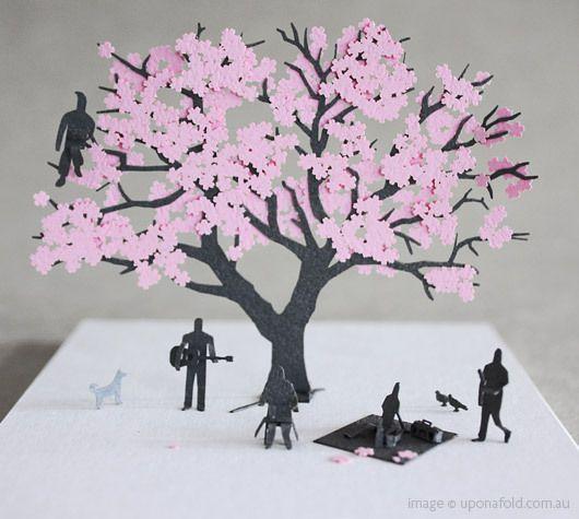 1 100 Paper Model Set No 11 Cherry Blossom Shop Upon A Fold Paper Models Cherry Blossom Tree Sakura Tree