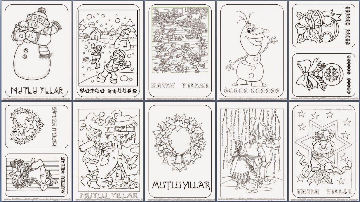 Yeni Yıl Boyama Sayfaları Merhaba Yeni Yıl Mutlu Yıllar New Year