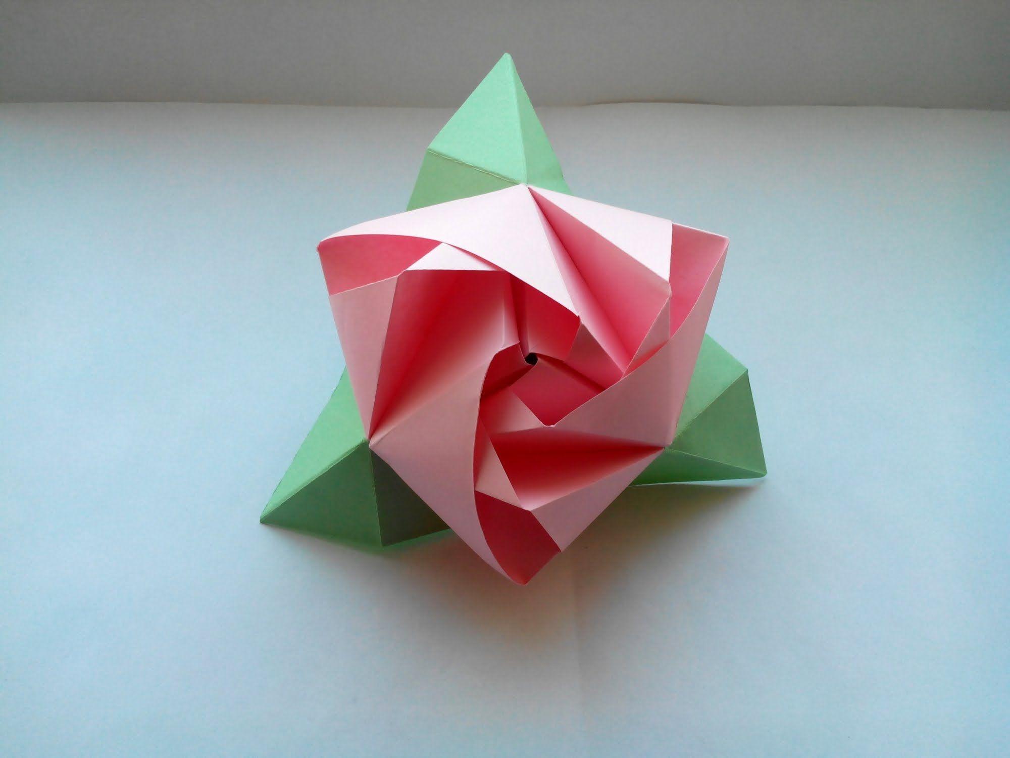 Цветы оригами - красивая роза из бумаги своими руками ...