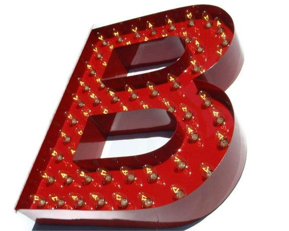Red letter b metal marquee light sign baughman for B marquee letter