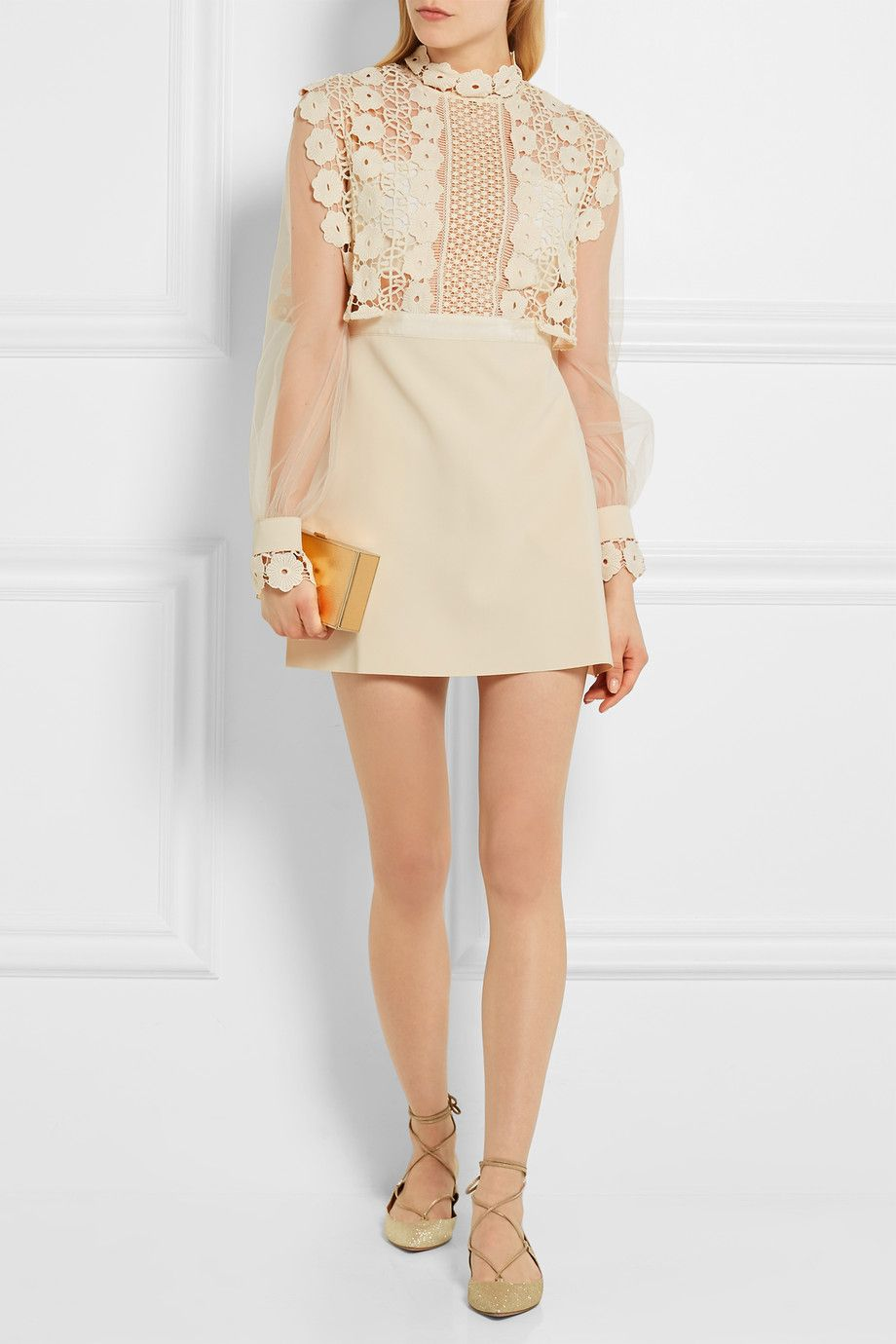 Self-Portrait   Guipure lace, crepe and tulle mini dress   NET-A-PORTER.COM