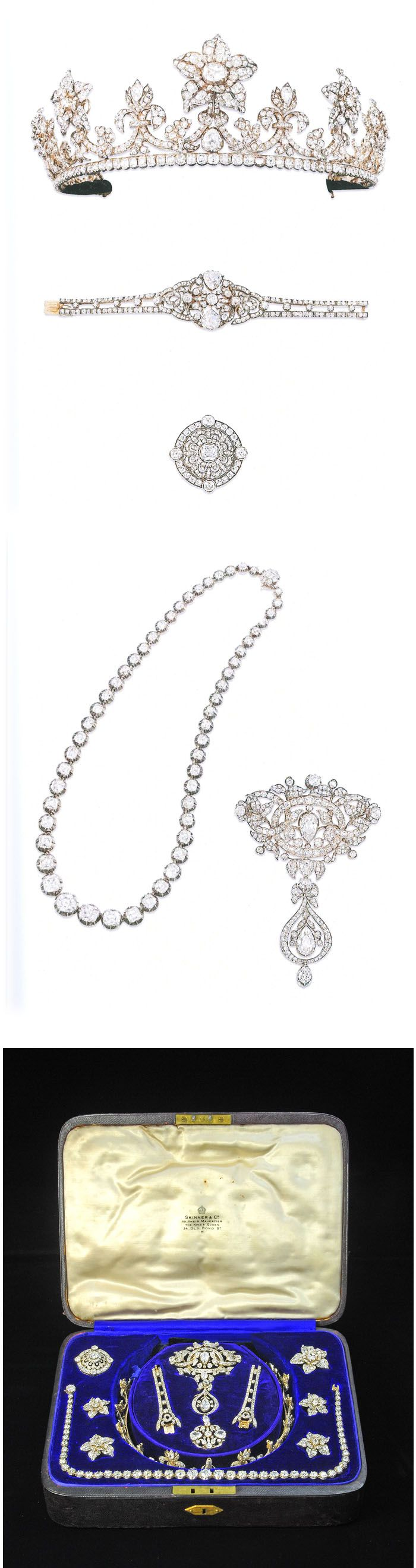The Macclesfield diamond jewels. Comprising a tiara with five detachable flowerhead cluster brooches, a riviere necklace, a stomacher brooch and a bracelet with two interchangeable cluster central panels. The tiara designe as a tapering row of old cushion-cut diamonds surmounted by a graduated series of fleur-de-lys motifs with garland and foliate intersections to a central pear shaped diamnd collet, with five detachable pave-set naturalistic flowerhead clusters. ca. 1850
