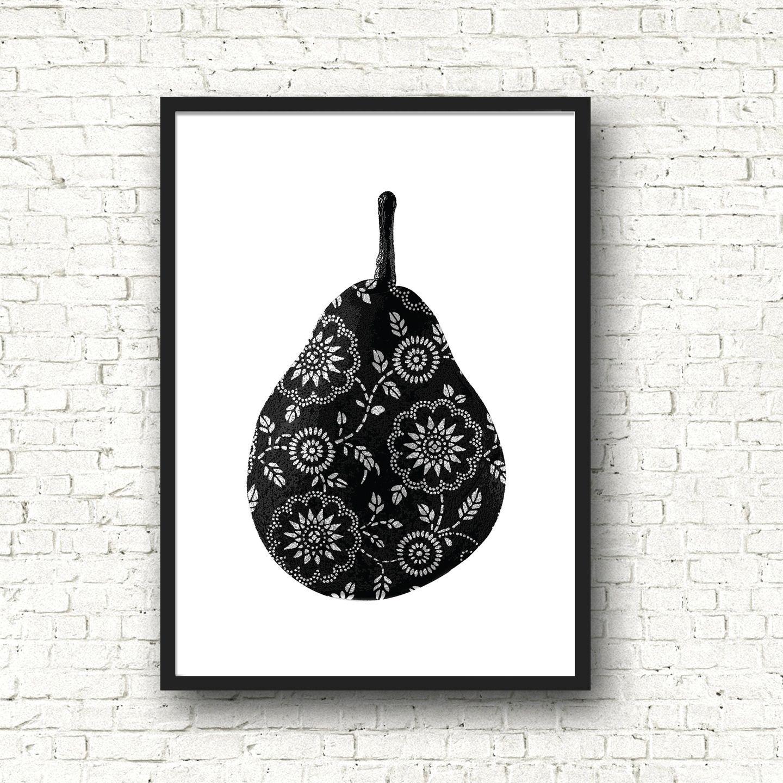affiche poster noir et blanc graphique cuisine poire fruits format a4 affiches illustrations. Black Bedroom Furniture Sets. Home Design Ideas