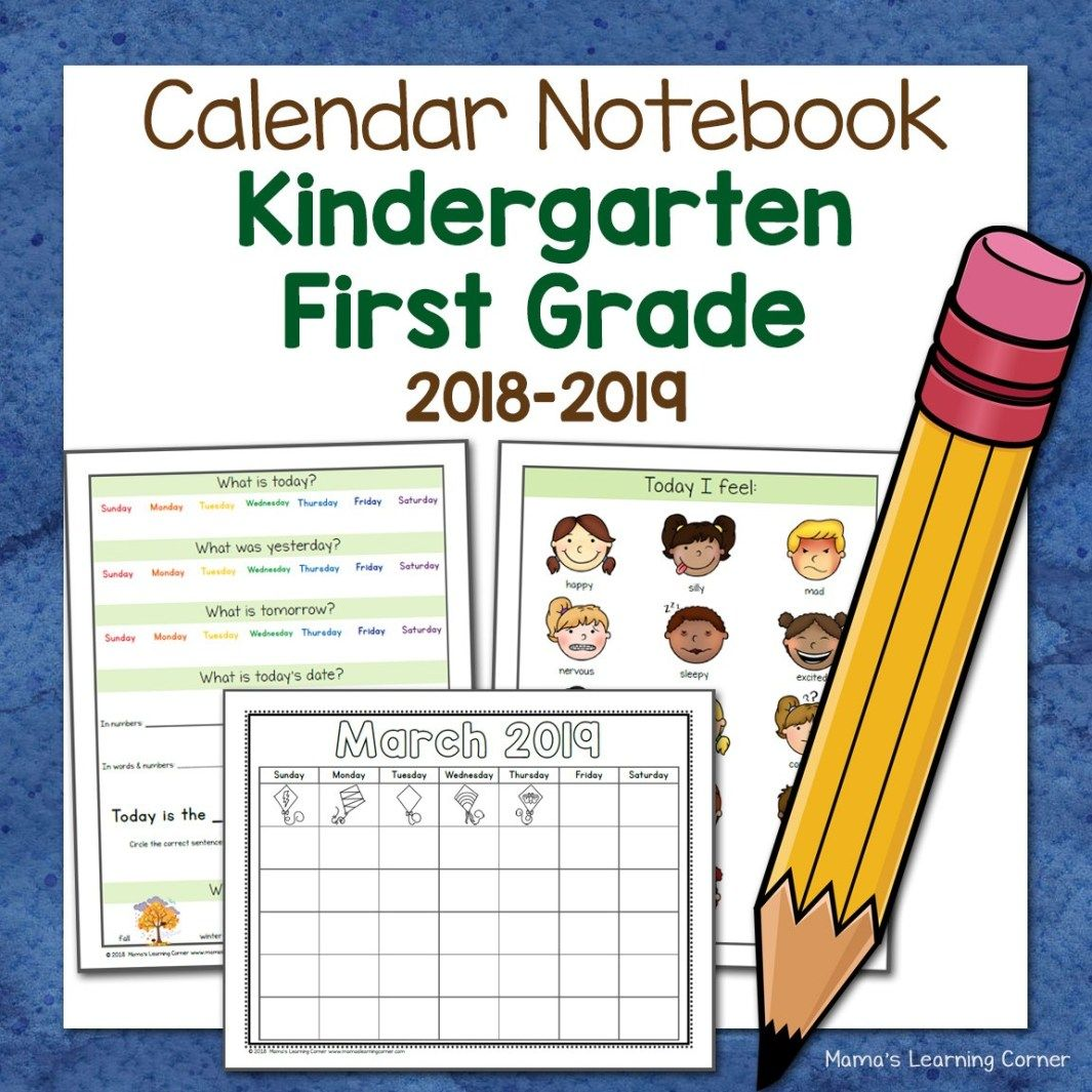 Calendar Notebook For Kindergarten And First Grade