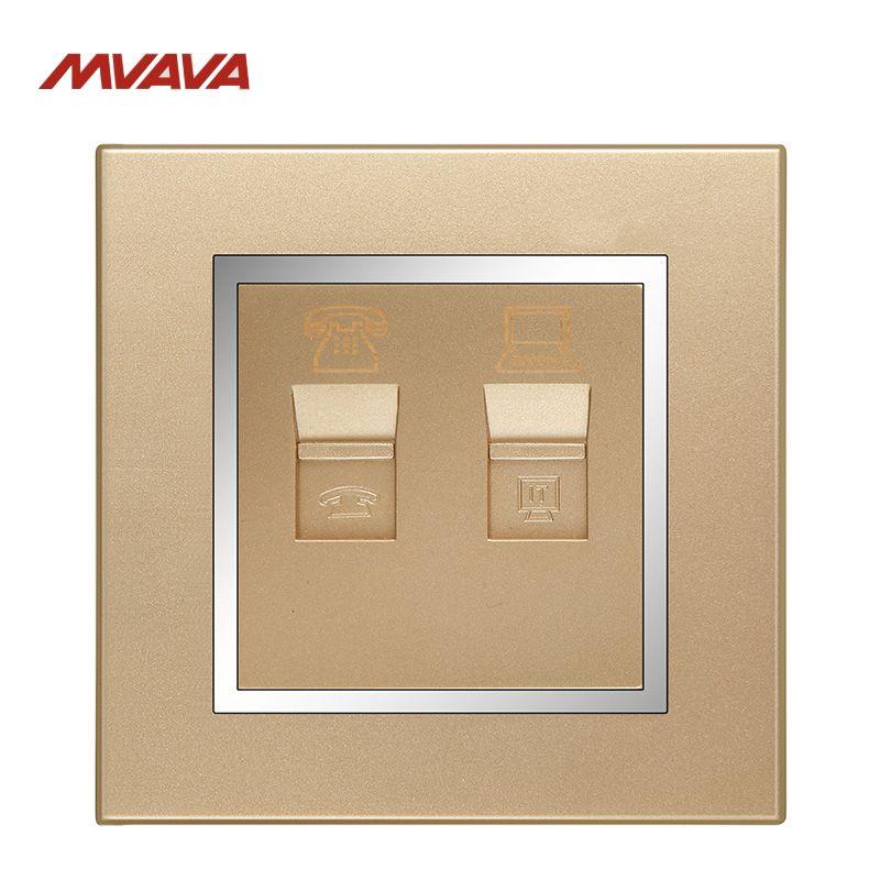 MVAVA RJ45 PC Network + RJ11 TEL Socket Luxury Chromed PC Gold Plug ...