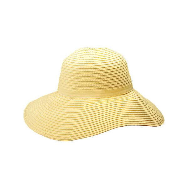 Women's Peter Grimm Janet - Yellow Sun Hats ($26) ❤ liked on Polyvore featuring accessories, hats, yellow, adjustable hats, beach hat, sun hat, long hat and wide brim hat