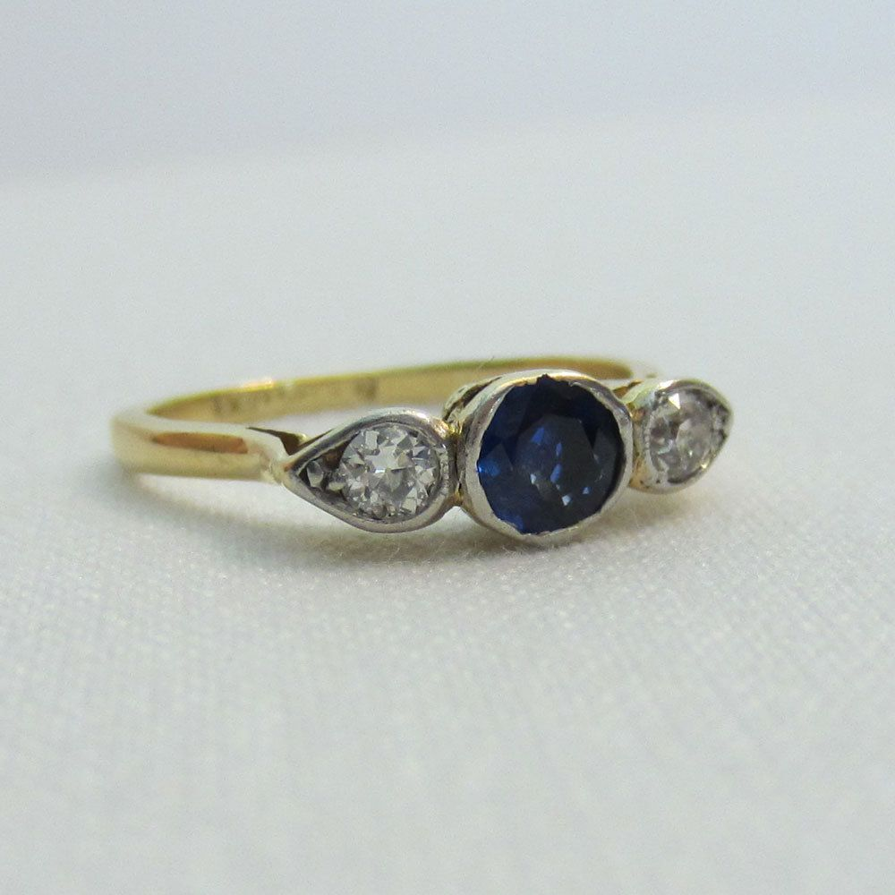 Stunning Engagement Ring. Sapphire and Diamonds in Crown Setting, Circa 1920s.. £500.00, via Etsy.