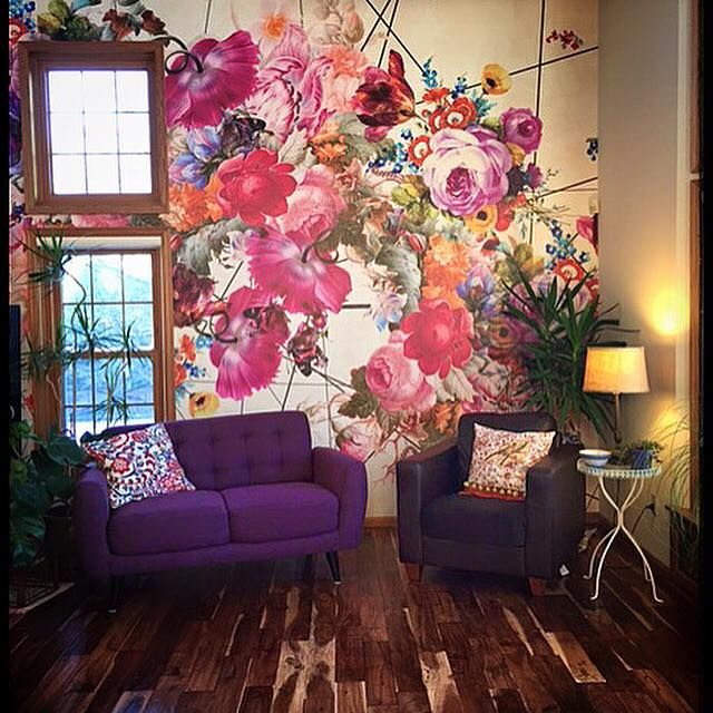 Lovely wall out of the box coloured walls in 2019 - Flower wallpaper mural ...