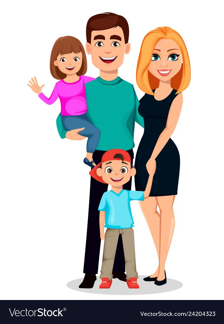Happy Family Father Mother Son And Daughter Vector Image Family Cartoon Mother Daughter Art Family Illustration