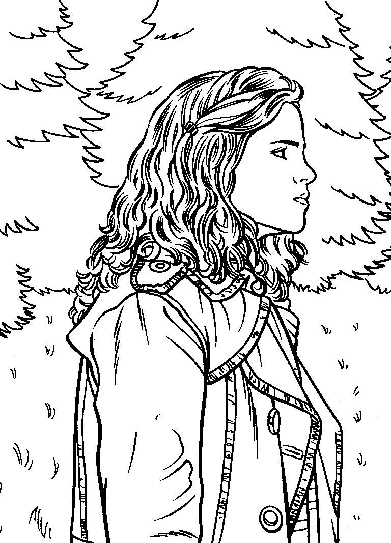Online coloring harry potter - Harry Potter Hermione Coloring Pages Selfcoloringpages Com