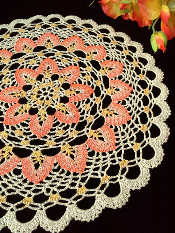 Crochet Round Doily Lace Table Topper Lace Crochet Doily By OlLace