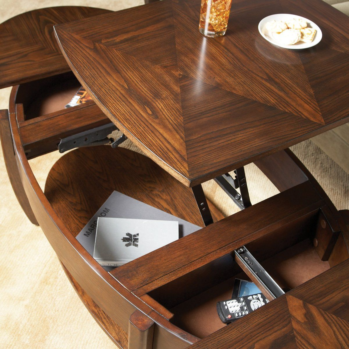Best Hammary Concierge Oval Lift Top Coffee Table Coffee 400 x 300