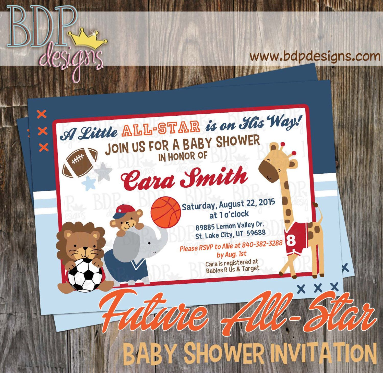 Future All Star MVP Sports Jungle Baby Shower Invitation ...