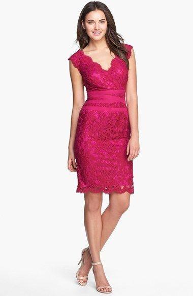 238 Hot Pink Lace Sheath Dress Tadashi Shoji Embroidered Sold