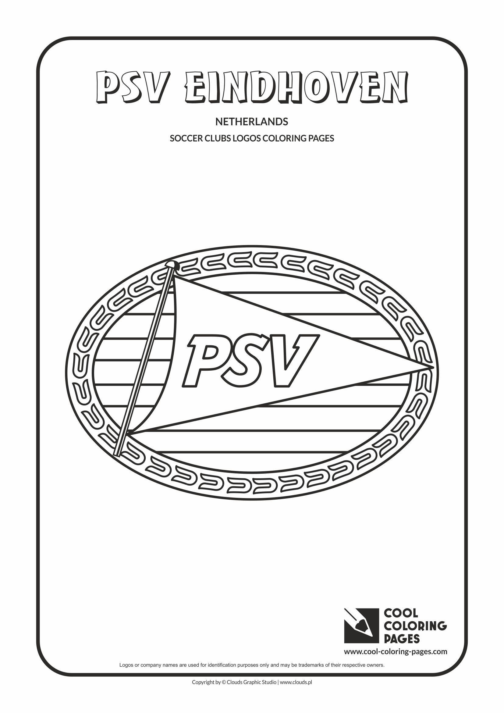 cool coloring pages soccer clubs logos psv eindhoven