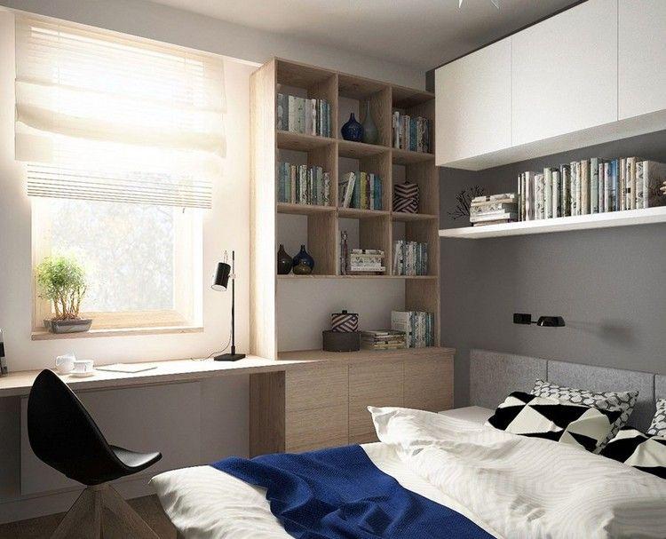 wohnungseinrichtung-ideen-schlafzimmer-graue-wandfarbe-holz ...