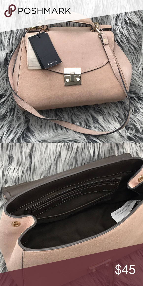 Zara Suede Authentic Leather Bag Nude pink color Brand new with tags Zara  Bags Shoulder Bags 351c5bbc13