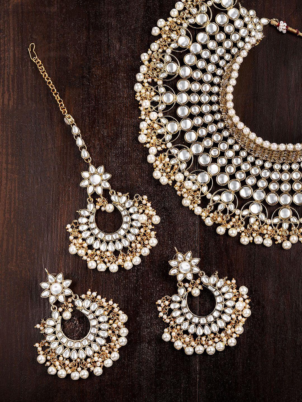 Buy Zaveri Pearls Women Gold Toned & White Kundan