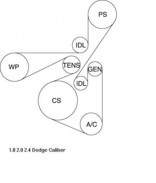 2007 Dodge Caliber 1.8L, 2.0L, 2.4L Serpentine Belt