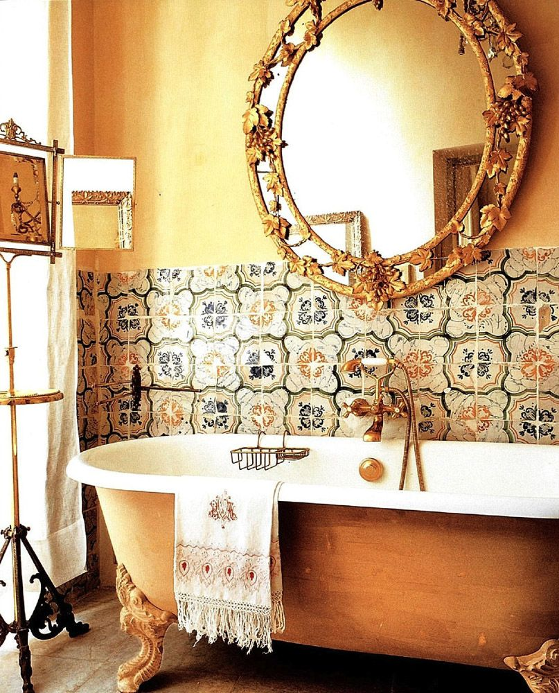 gilded bathroom and tilework, italian country living