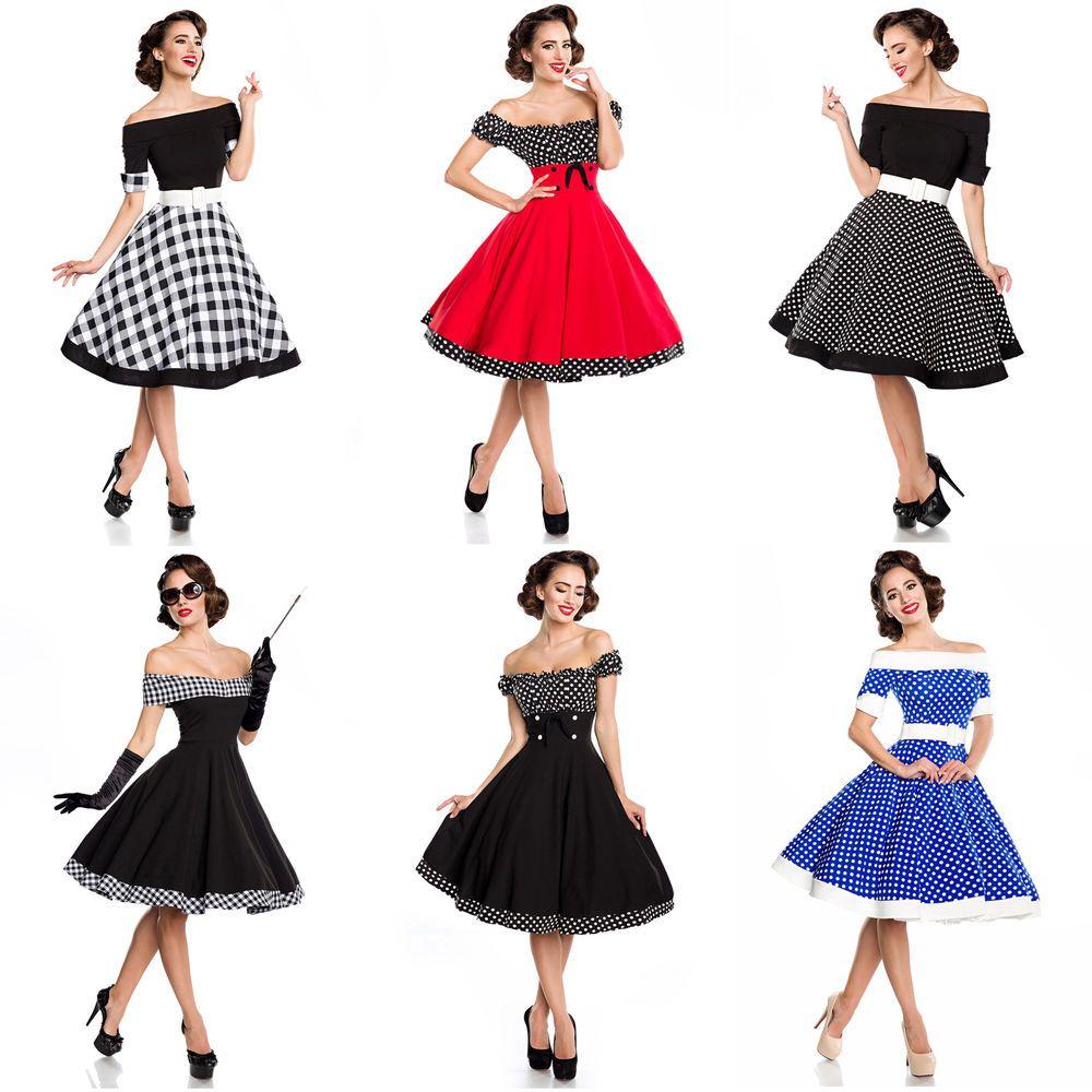 4er Swing Kleid Rockabilly Vintage Retro 194s Schulterfrei 4s