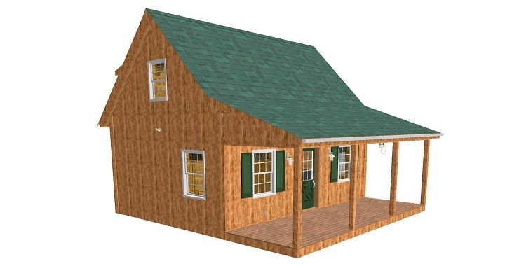 Adirondack Cabin Plans 18x24 With Cozy Loft And Front Porch 15 Bath