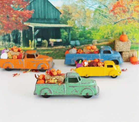Toy Truck Magnet Ornament & Pumpkins Hay Leaves / by TheBlueRam