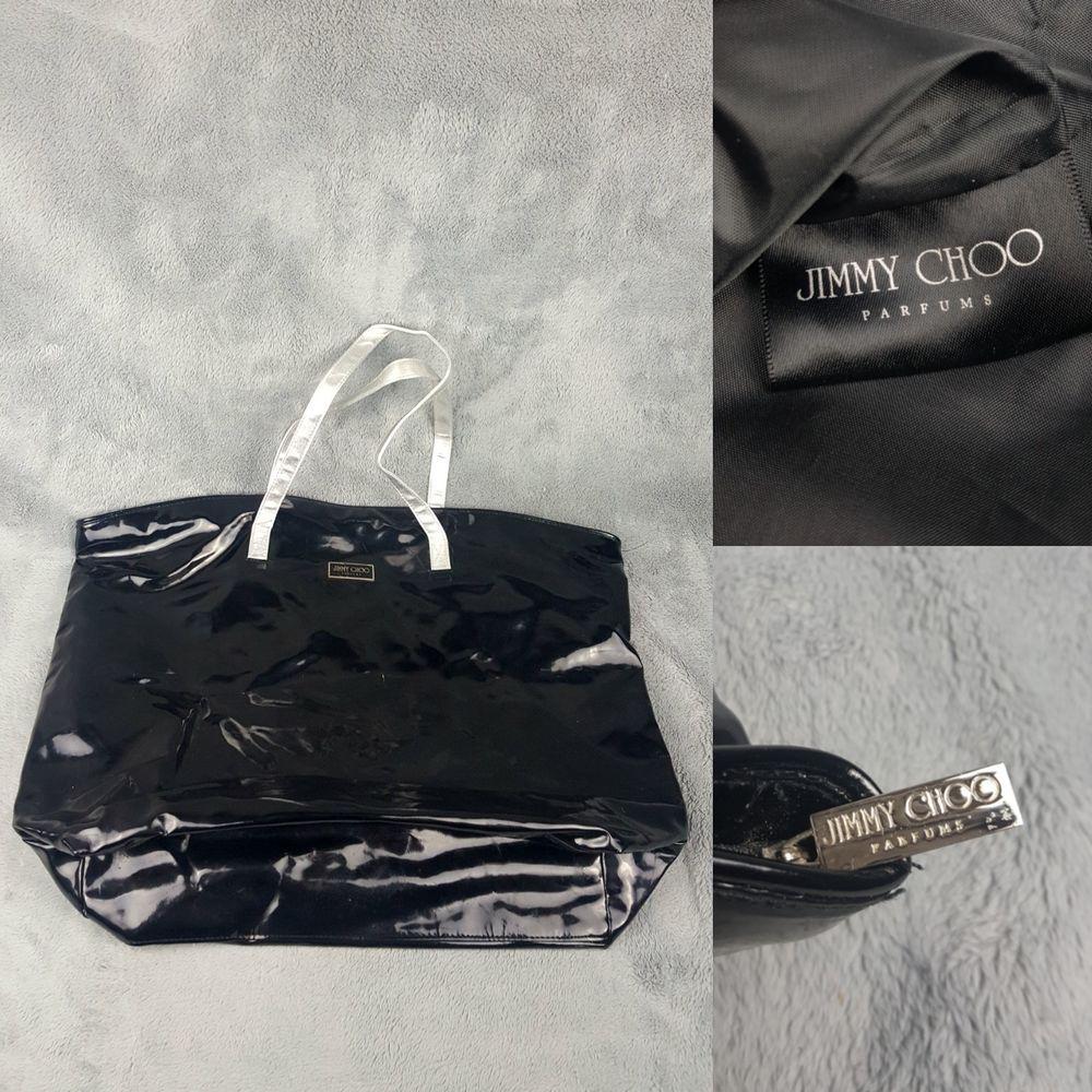 461ea5a0e4 Jimmy Choo Perfume Shopping Tote Bag Black Patent Leather Silver Handles  100% PU