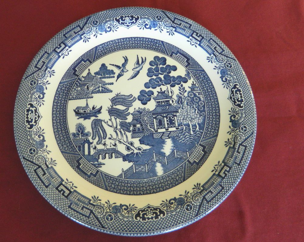 AROUND PLATTER/SERVING PLATE-CHURCHILL MADE IN STAFFORDSHIRE ENGLAND-BLUE WILLOW & Around platter/serving plate-churchill made in staffordshire england ...