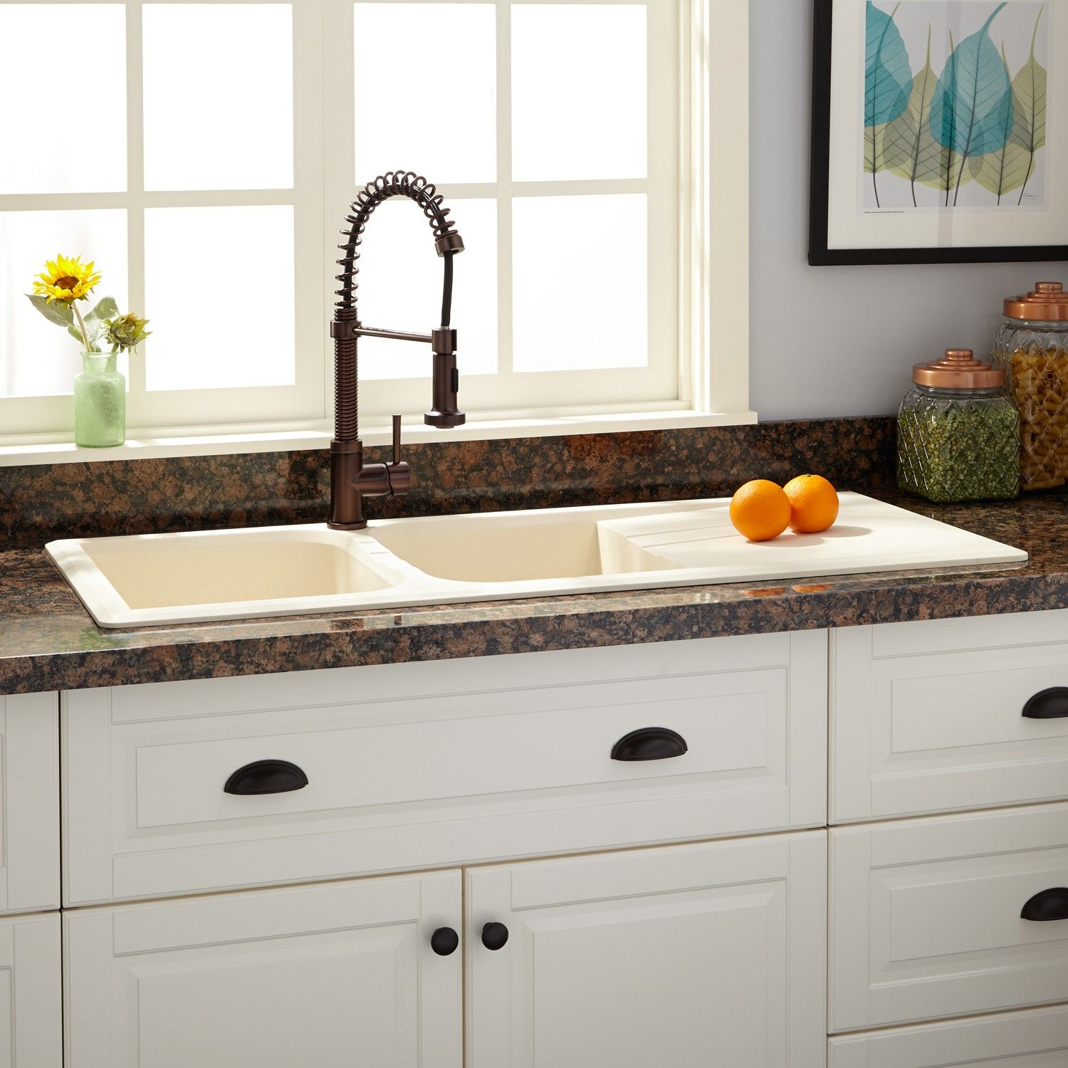 "Granite Double Bowl Kitchen Sink: 46"" Owensboro Double-Bowl Drop-In Granite Composite Sink"