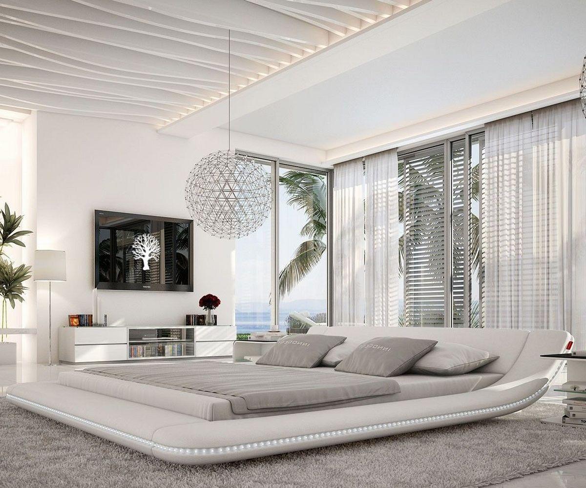 Polsterbett Perfecta 180x200cm Weiss Led Beleuchtung Schlafzimmer Design Bett Modern Schlafzimmergestaltung