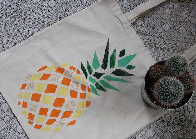 Jutetasche Ananas