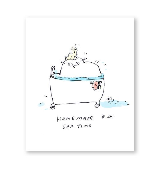 Spa Time Cat Card MotherS Day Card Cat Get Well By Jamieshelman