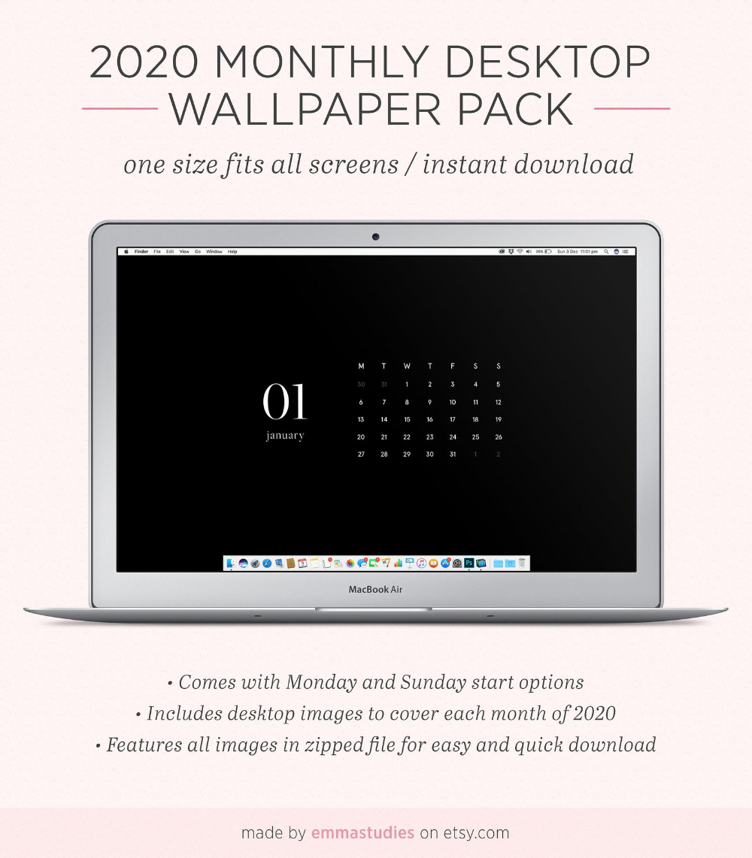 2020 Monthly Calendar Desktop Wallpaper Background Minimalist Black Instant Download Laptop Desktop Pc Mac And Ipad Organiser In 2020 Desktop Wallpapers Backgrounds Desktop Wallpaper Desktop Wallpaper Calendar