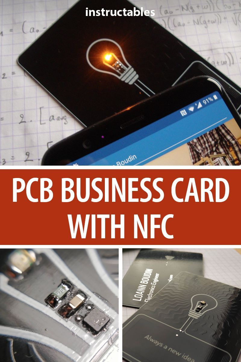 Pcb Business Card With Nfc Electronics Projects Electronic Business Business Cards