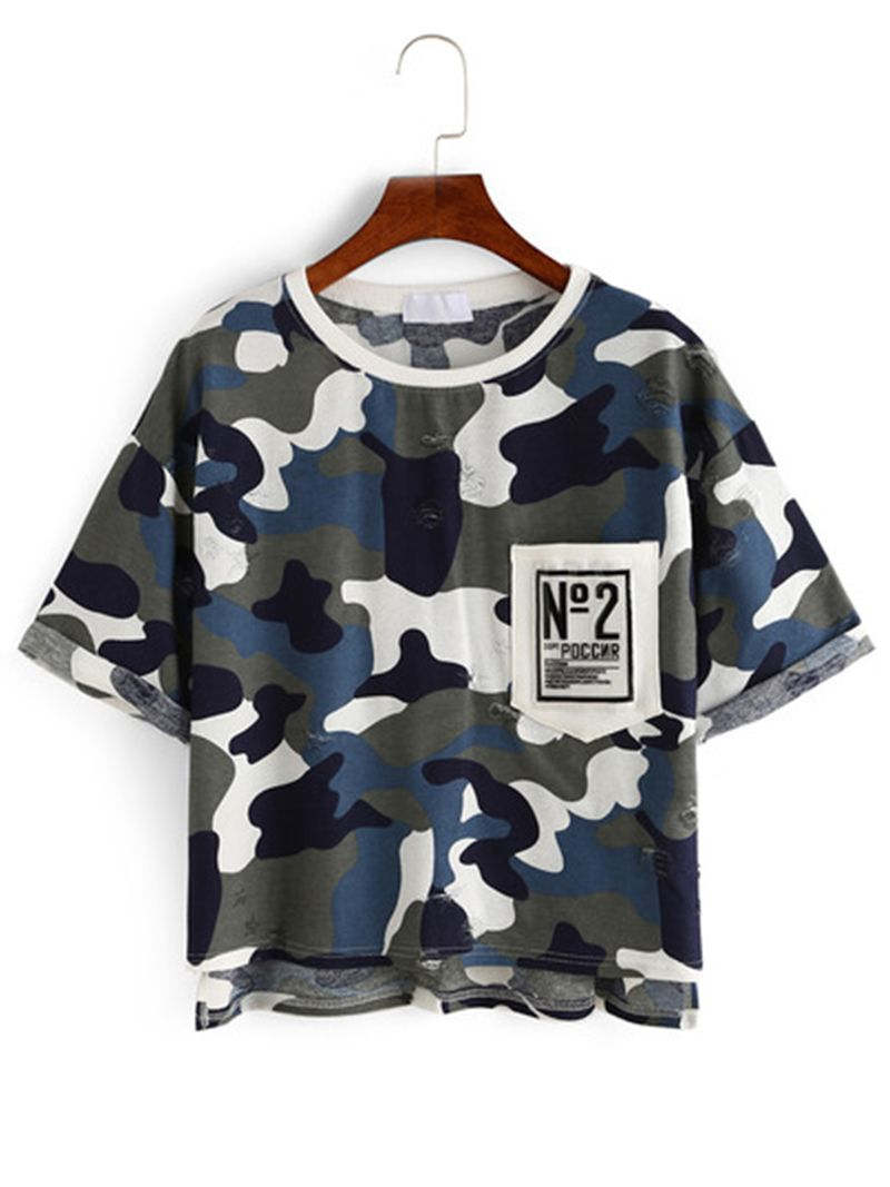"""Camouflage High-Low Pocket T-shirt """". Basic top for girls. Camouflage t-shirt make you more fashion. You will want the second piece for it! For that it's so easy-wear!"""