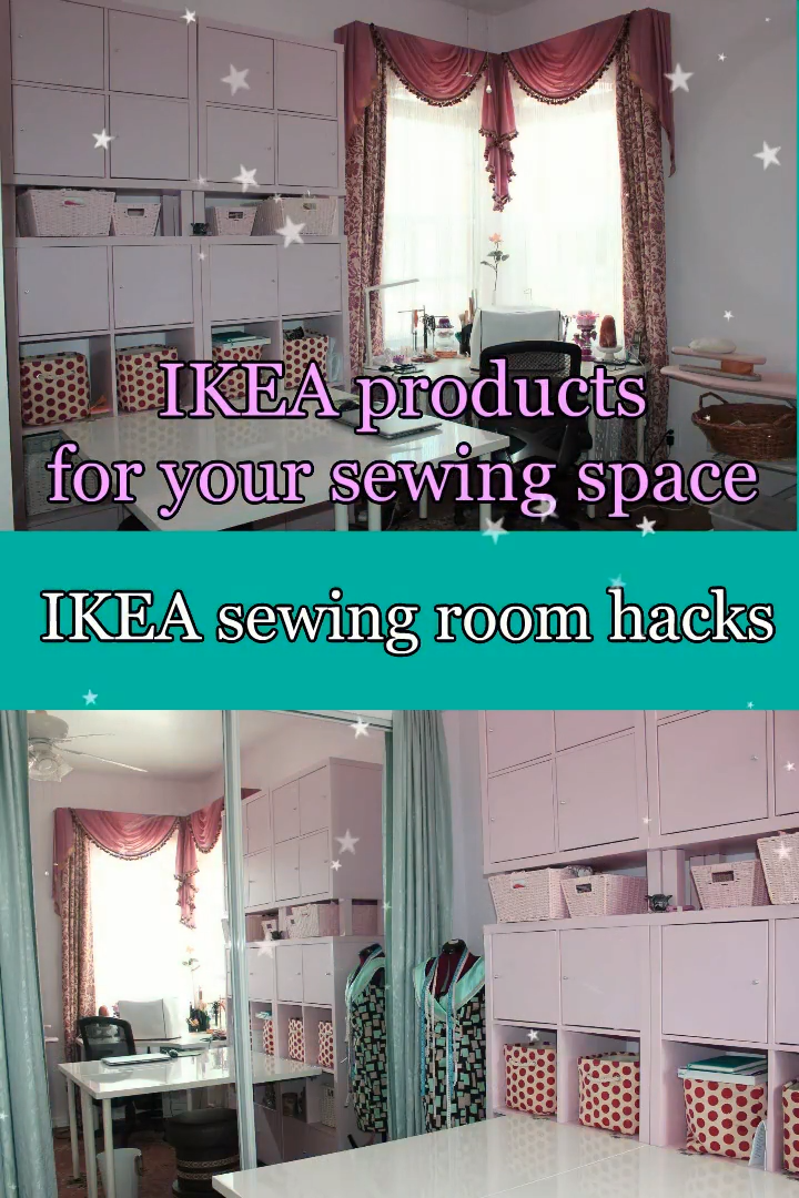 IKEA sewing room hacks/sewing room organization/sewing room ideas for small spaces images