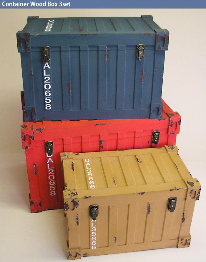 アメリカンアンティークなコンテナ型ウッドボックス3個セット My Wishlist Military Box