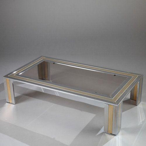 Metal Coffee Table By Romeo Rega Table Basse Table Basse Rectangulaire Mobilier De Salon