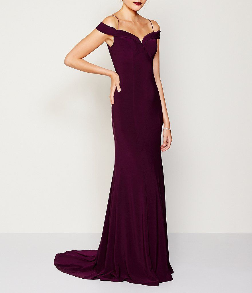 Cassis Adrianna Papell Cold Shoulder Mermaid Gown Gowns