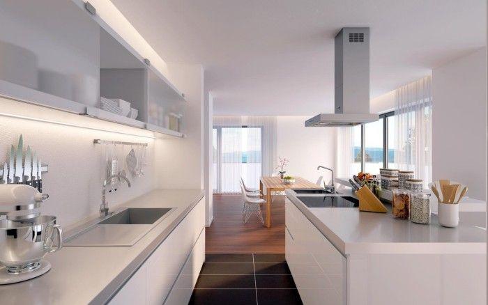 offene küche modern gestalten in mehrere zonen trennen   Küche ...