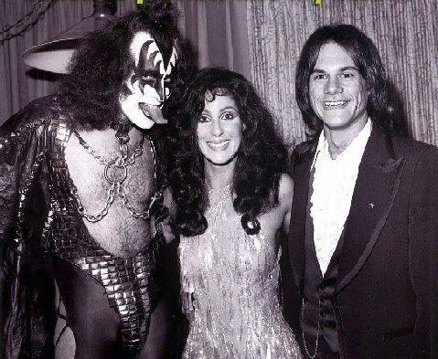 gene simmons 70s. gene simmons, cher and kc (without his sunshine band). simmons 70s