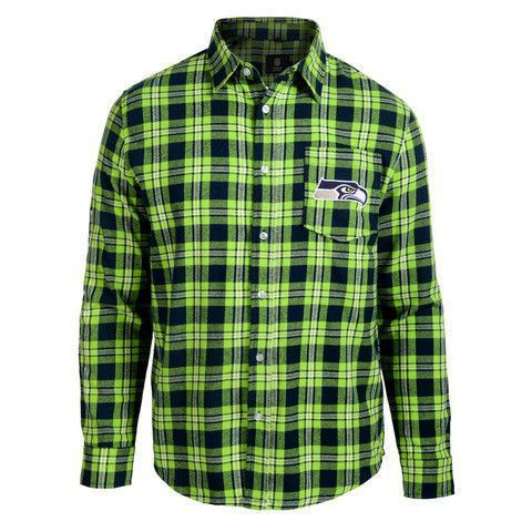 14571b43 Seattle Seahawks Wordmark Long Sleeve Men's NFL Flannel Shirt by Klew