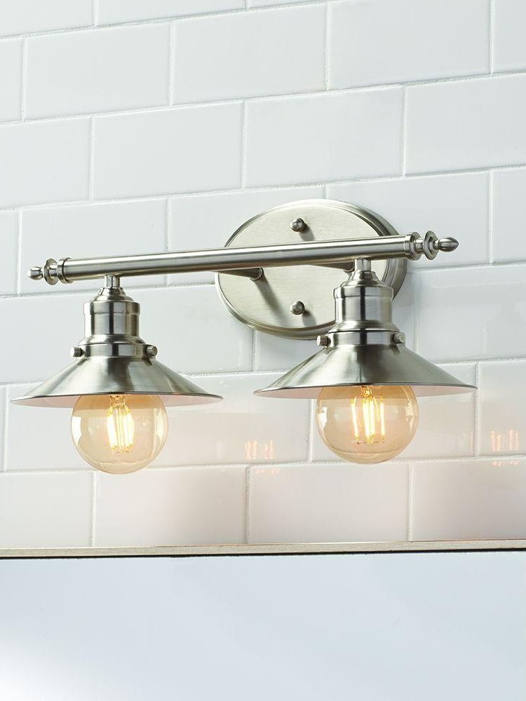 Home Decorators Collection Glenhurst 2 Light Brushed Nickel Retro