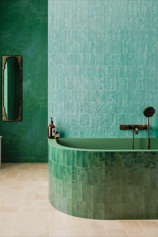 salle de bain zelliges verts et