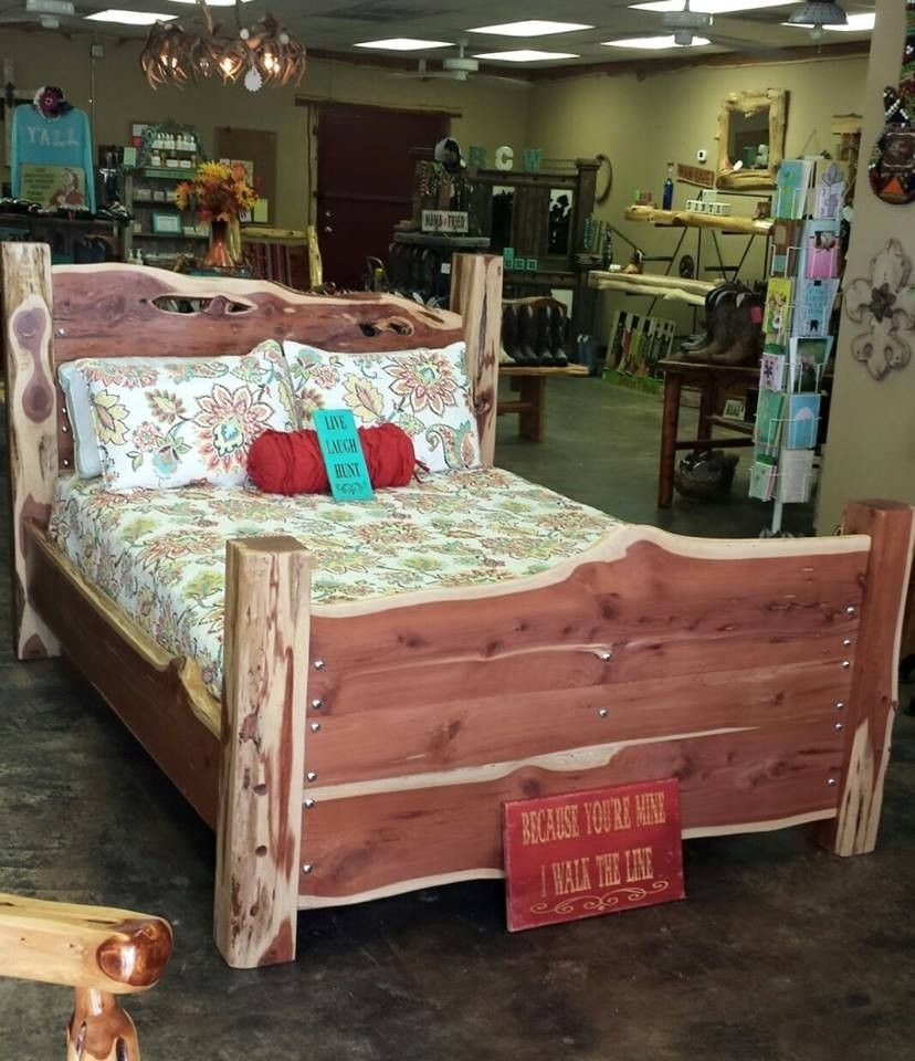Cedar Bed With Raw Edges On Headboard And Footboard Brazos Works Bryan Tx Furniture