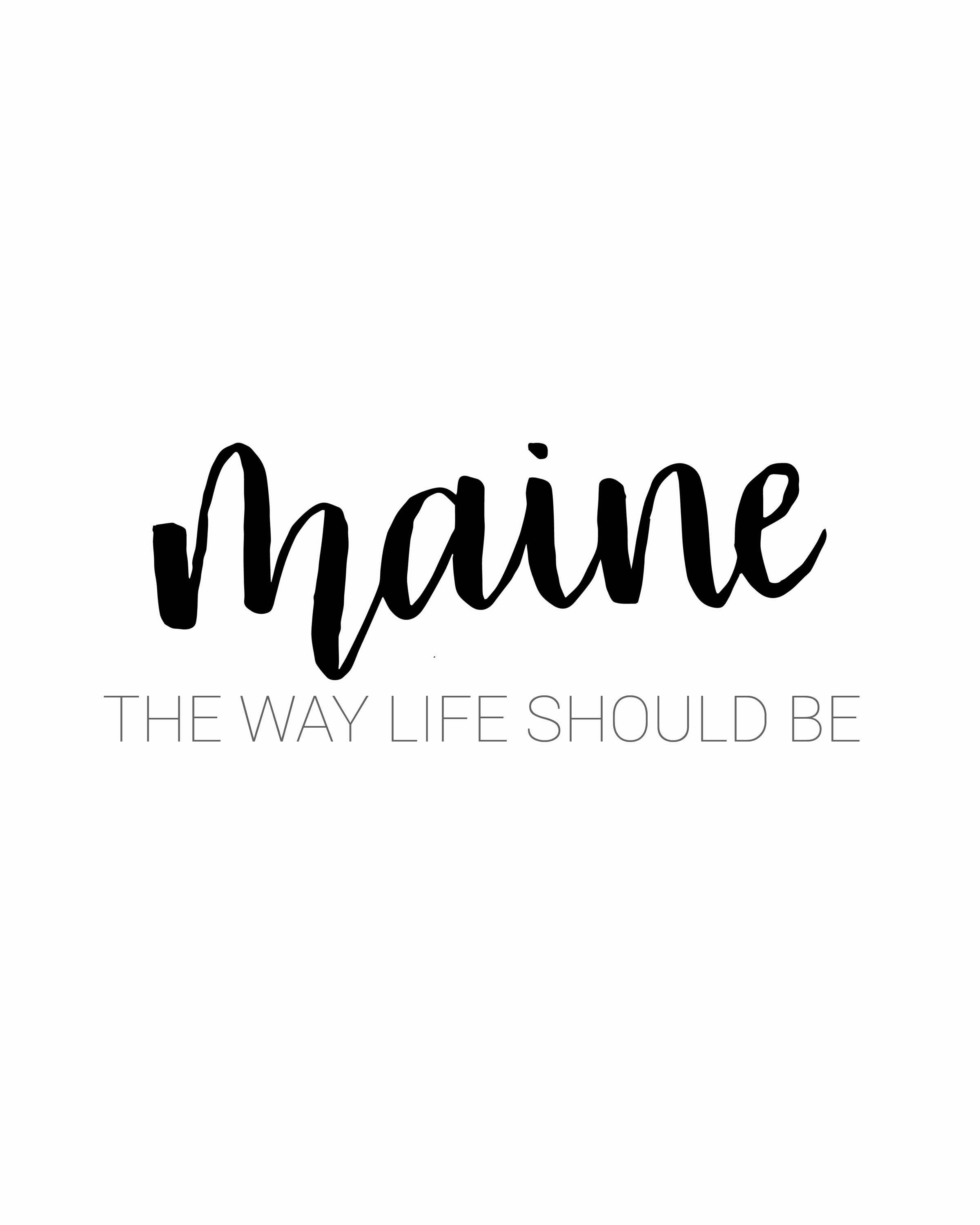 Maine The Way Life Should Be Hand Lettering And Print By