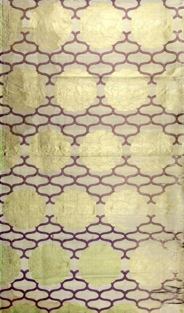 Japanese Brocade, White Ground, Light Green And Violet Design